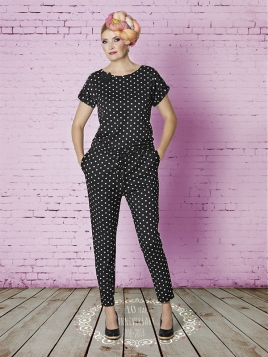 Jumpsuit Sarah Suit Black White dots von Du Milde
