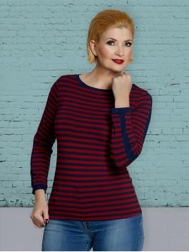 Langarm T-Shirt DU-Thulas-Stripes-red-blue von Du Milde in RedBlue