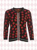 Strickjacke Betty Black-Strawberry von Du Milde in RotSchwarz