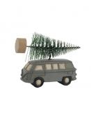 Auto mit Weihnachtsbaum von Ib Laursen in grau