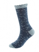 Socken Irma Bird von Sorgenfri Sylt in Denim