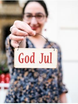 """""""Gold Jul"""" Emailleschild"""