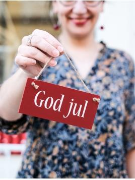 """""""God Jul"""" Holzschild (rot)"""