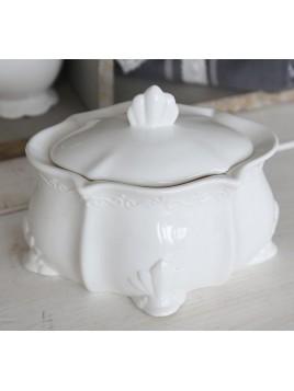 """Große Zuckerdose """"Provence"""" von Chic Antique in Weiß"""