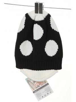 Mütze Aspen in schwarz weiss gepunktet von Margot
