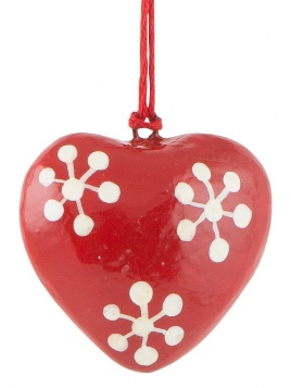 Anhänger (kl. Herz) von Ib Laursen in Rot mit Schneeflocken