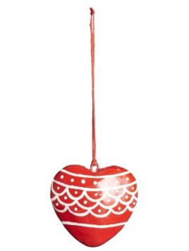 Anhänger (gr. Herz) von Ib Laursen in Rot mit Muster