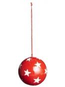 Anhänger (mittelgr. Kugel) von Ib Laursen in Rot mit Sternen