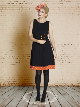 Kleid Orange Black Poula von Du Milde