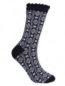 Socken Irma Nordic Flower von Sorgenfri Sylt in night